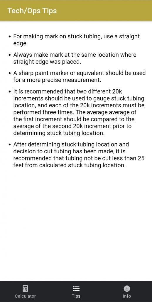 Stuck Tubing Calculator